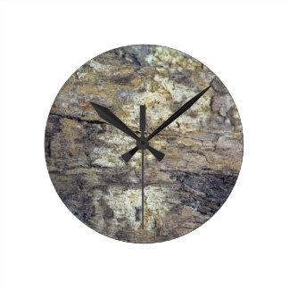 Fossil Wood Round Clock