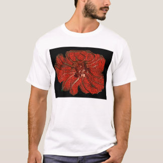 Fossilized alien Creature in red T-Shirt