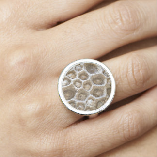 Fossilized Coral Photo on Round Ring