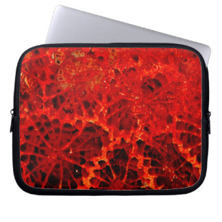 Fossilized coral red dyed stone computer sleeve