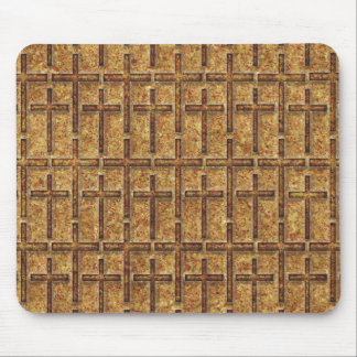 FOSSILIZED CROSSES GOLDEN MOUSE PAD