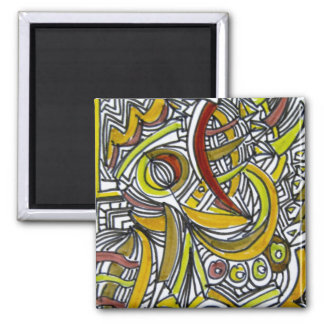 Fossils - Colorful Abstract Art Ink Drawing Magnet