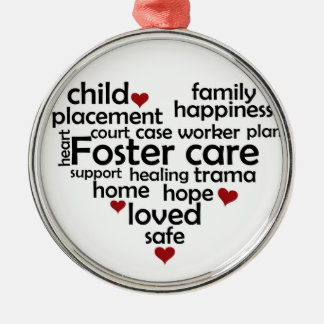 Foster Care Round Metal Christmas Ornament