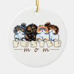 Foster Cat Mom Double-Sided Ceramic Round Christmas Ornament
