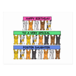 Foster daughter Happy Birthday. Postcard