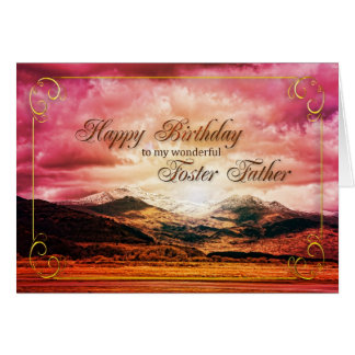 Foster Father birthday, Sunset over the mountains Card