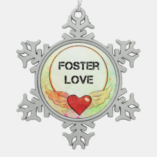 Foster Love Watercolor Heart Snowflake Pewter Christmas Ornament