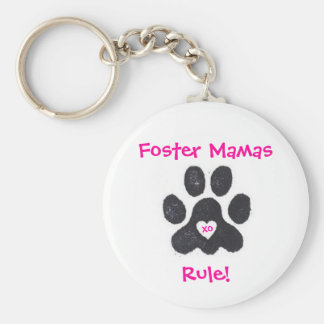 Foster Mamas Rule! Basic Round Button Keychain