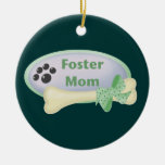 Foster Mom (blue circle) Double-Sided Ceramic Round Christmas Ornament
