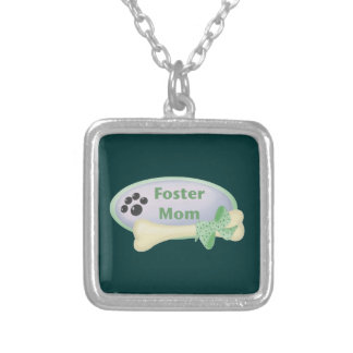 Foster Mom (blue circle) Silver Plated Necklace