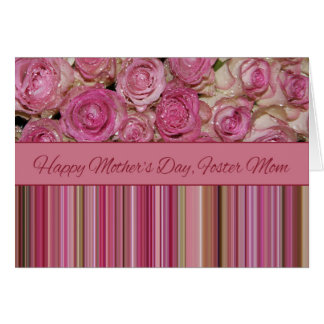 Foster Mom  Happy Mother's Day rose card Greeting Card