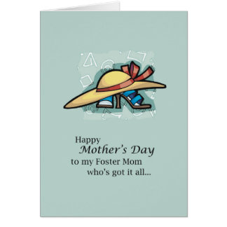 Foster Mom Hat Sandals Mother's Day Card