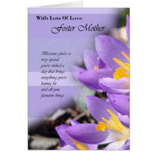 Foster Mother purple crocus Birthday Card