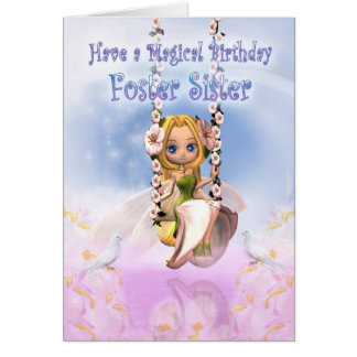 Foster Sister Birthday card with Cutie Pie fairy o