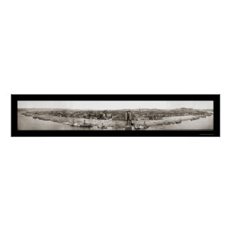 Foto 1866 del panorama de Cincinnati OH Póster