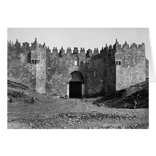 Foto 1870 del vintage de la puerta de Jerusalén Tarjeta De Felicitación