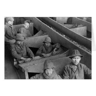 Foto 1884 del vintage del minero de la colina de tarjeta de felicitación