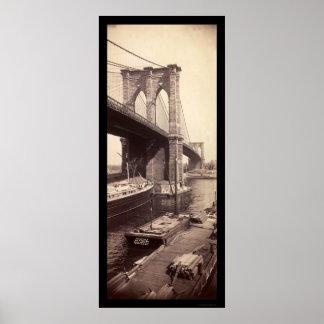 Foto 1896 del puente de Brooklyn Poster