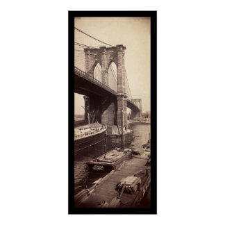 Foto 1896 del puente de Brooklyn Póster