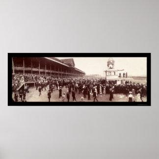 Foto 1902 de la carrera de caballos póster