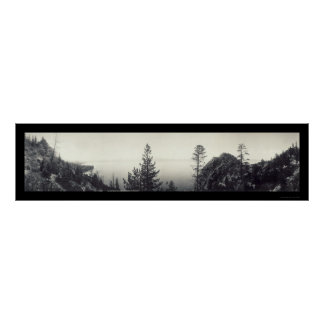 Foto 1906 de la roca de la cueva del lago Tahoe Póster
