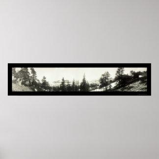 Foto 1906 de Tahoe del rastro del Mt Tallac Póster