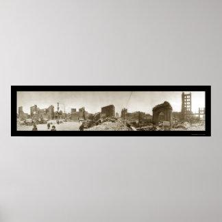 Foto 1906 del daño SF CA del terremoto Póster