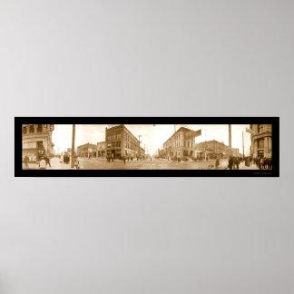 Foto 1907 de la calle de Boise Idaho Poster