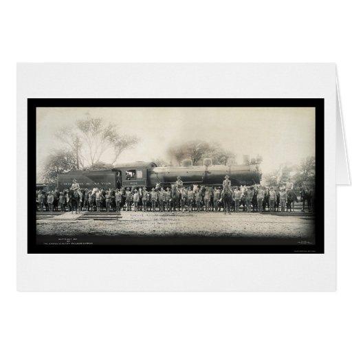 Foto 1907 del ferrocarril y de la caballería tarjeta de felicitación
