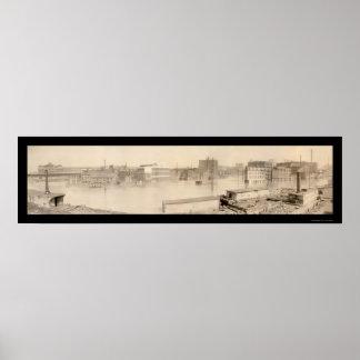 Foto 1907 del PA de la inundación de Pittsburgh Póster
