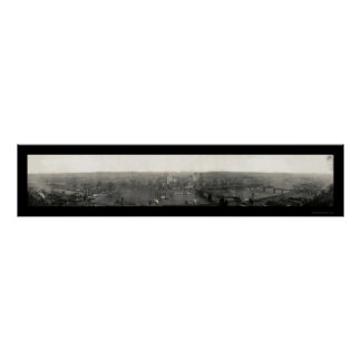 Foto 1908 del panorama del PA de Pittsburgh Póster