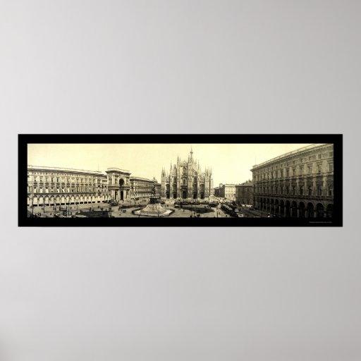 Foto 1909 de Italia del cuadrado del Duomo de Mila Impresiones