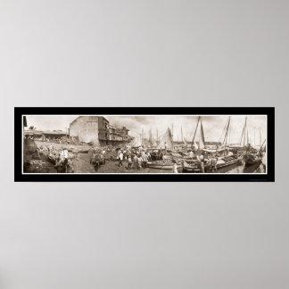 Foto 1909 de Panamá de los barcos de pesca Poster