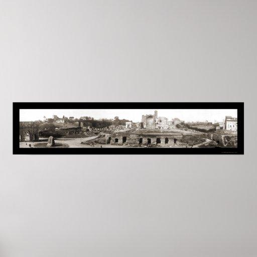 Foto 1909 del arco de Roma, Italia Póster