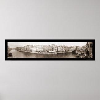 Foto 1909 del canal de Venecia Italia Poster