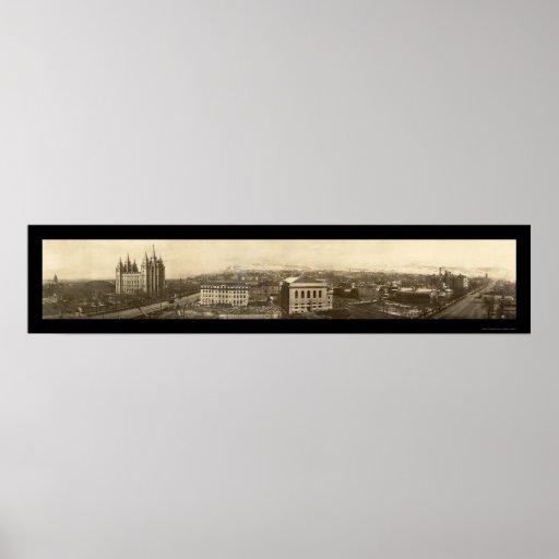 Foto 1910 de Birdseye del templo mormón Posters