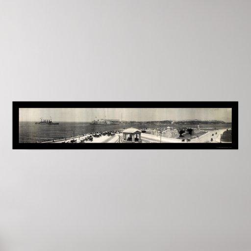 Foto 1910 de Cuba de la nave de USS Montana Póster