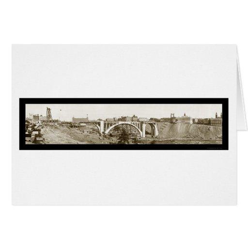 Foto 1911 de Spokane del puente de Monroe Felicitaciones