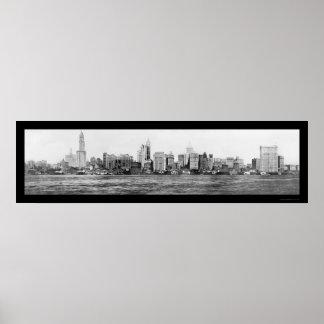 Foto 1911 del horizonte de New York City Póster