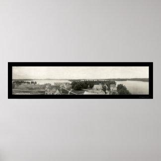 Foto 1912 del mesón y del lago de Saranac Póster