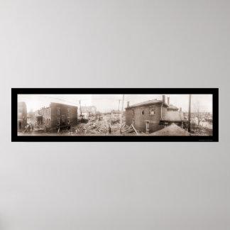 Foto 1913 de Dayton del desastre de inundación Póster