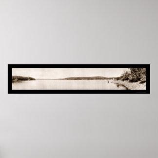 Foto 1913 de la bahía de Hopatcong del lago Poster