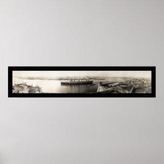 Foto 1913 de la nave de La Habana, Cuba Póster