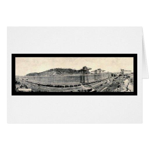 Foto 1913 del Canal de Panamá del tren de Tarjeta De Felicitación