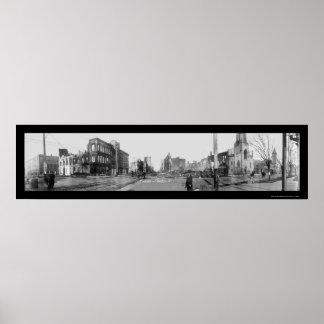 Foto 1913 del fuego de la inundación de Dayton OH Póster