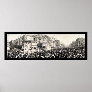 Foto 1913 del LA del carnaval del desfile de Rex Póster