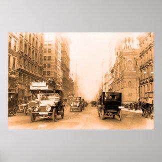 Foto 1913 del vintage de la sepia de Nueva York de Póster