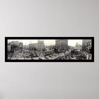 Foto 1914 de Detroit del desfile del ejército Póster