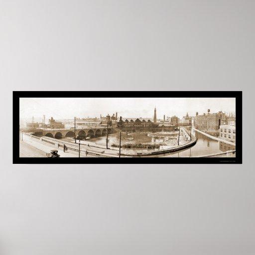 Foto 1914 de Rochester, río de NY Poster