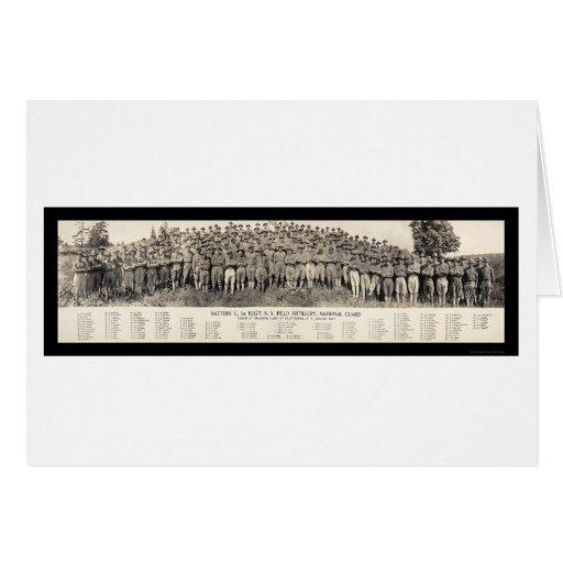 Foto 1916 de la artillería de Plattsburgh NY Felicitación